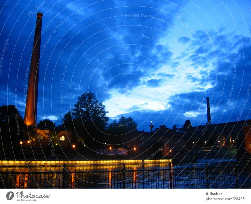 Tampere (Finland) by night Night Town Festive Europe Chimney
