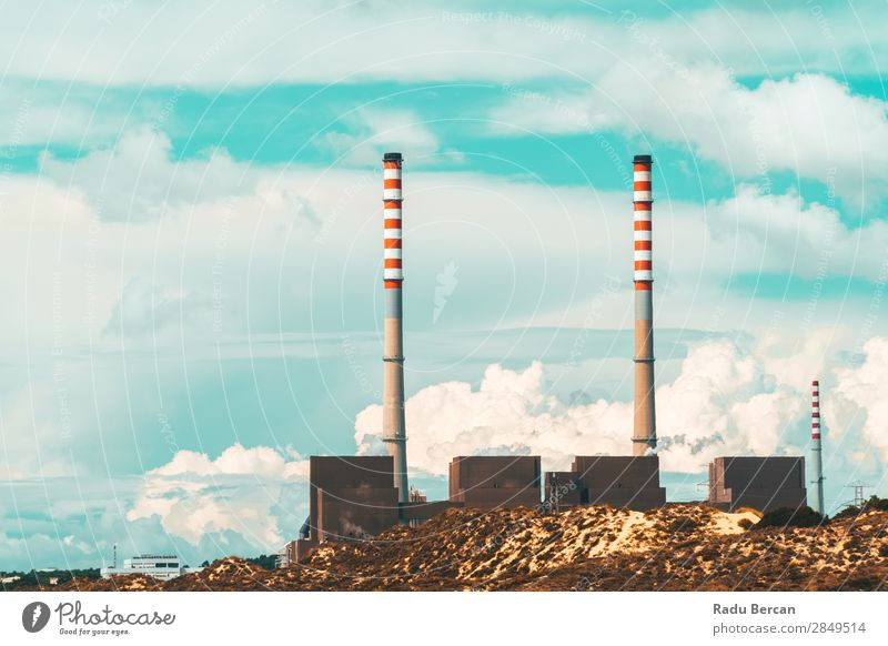 Red And White Chimney Of Power Plant Factory Old Blue Town Colour Landscape Environment Building Energy industry Large Industry Climate Threat