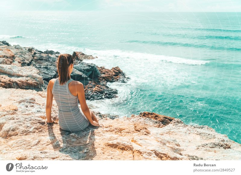Woman Admiring Beautiful Landscape In Algarve, Portugal Human being Feminine Young woman Youth (Young adults) Adults 1 18 - 30 years Environment Nature Water
