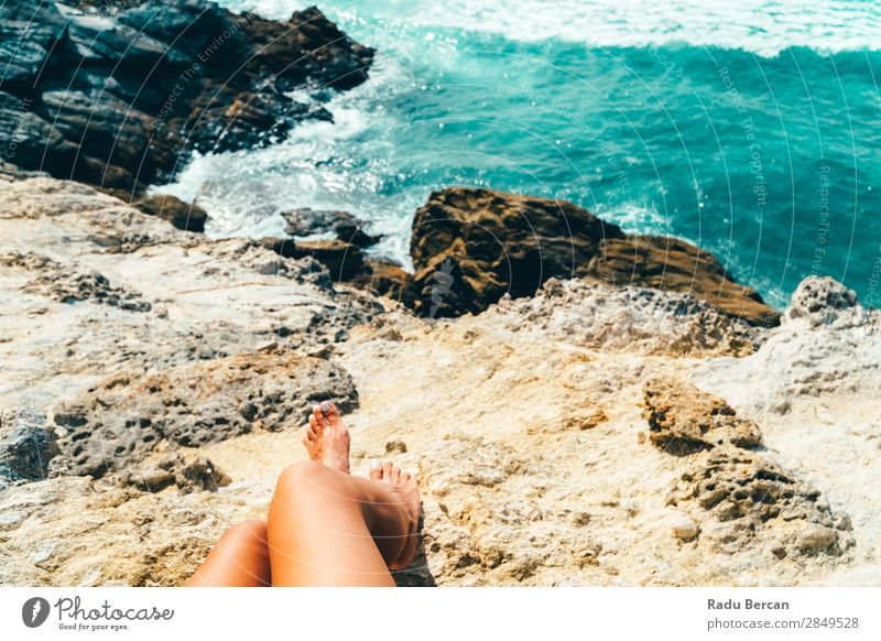 Woman Admiring Beautiful Landscape In Algarve, Portugal Human being Feminine Young woman Youth (Young adults) Adults Legs 1 18 - 30 years Environment Nature