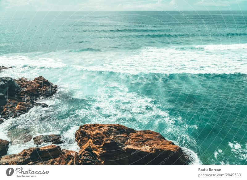 Landscape And Seascape View Of Ocean In Algarve, Portugal Environment Nature Water Sky Summer Weather Beautiful weather Rock Waves Coast Beach Bay Island