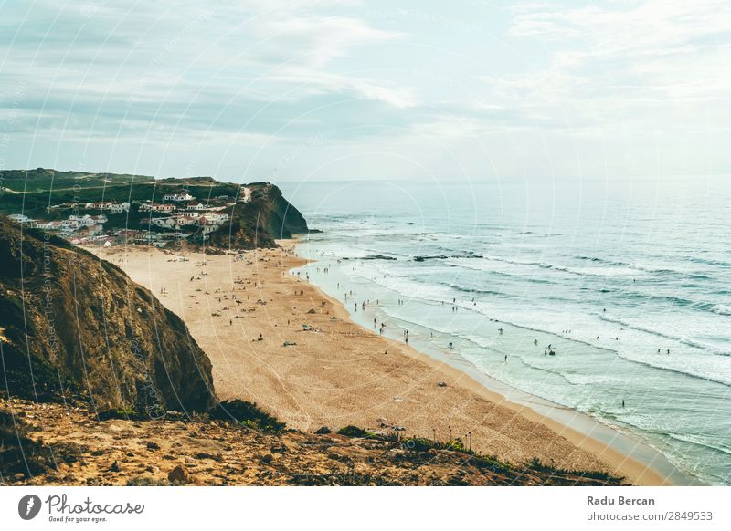 Ocean Beach, Mountains And Small Town In Algarve, Portugal Vacation & Travel Adventure Freedom Summer Summer vacation Sunbathing Waves Human being