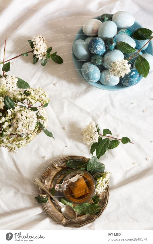Naturally dyed Easter blue eggs, and tea cup, Breakfast Tea Beautiful Decoration Feasts & Celebrations Flower Blue Green White Tradition Egg background