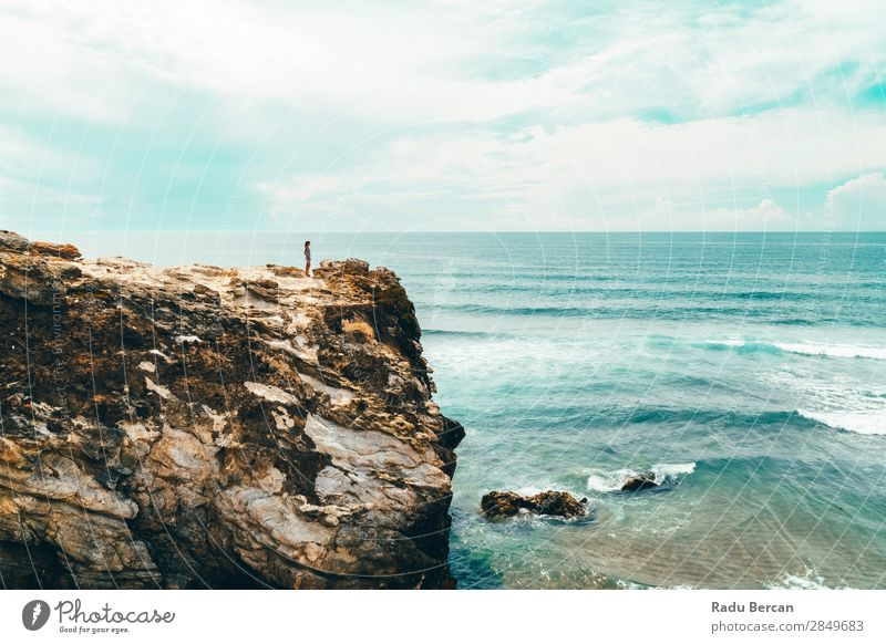 Landscape And Seascape View Of Cliffs And Ocean In Portugal Human being Feminine Young woman Youth (Young adults) Woman Adults 1 18 - 30 years Environment