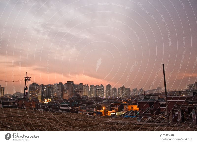 Sunset in Seoul City Building Pink Orange High-rise Violet Asia Trashy Capital city Old town South Korea