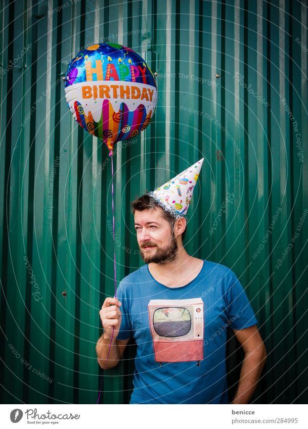 Happy B. - II Birthday Happy Birthday Balloon Man Human being Young man Facial hair Old Senior citizen Wall (building) Feasts & Celebrations Party Stand Smiling
