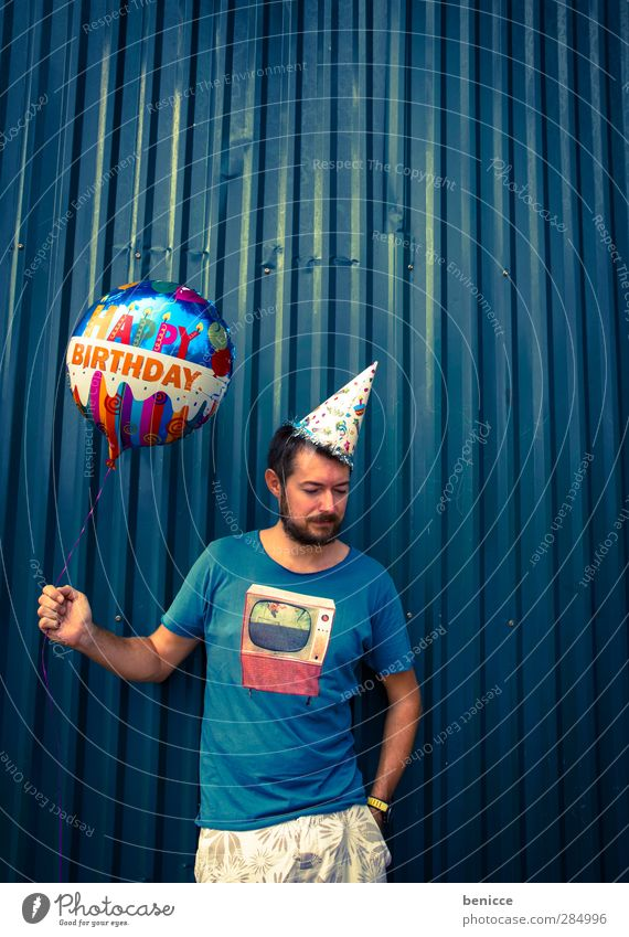Happy B. - III Birthday Happy Birthday Balloon Man Human being Young man Facial hair Old Wall (building) Feasts & Celebrations Party Stand Smiling Sadness Row