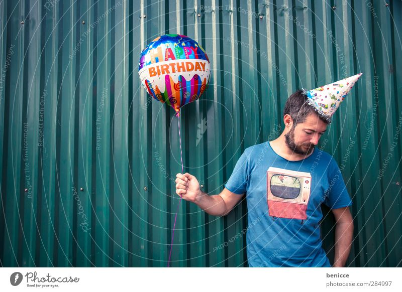 Happy B. IV. Birthday Happy Birthday Balloon Man Human being Young man Facial hair Old Wall (building) Feasts & Celebrations Stand Smiling Sadness Row Funny