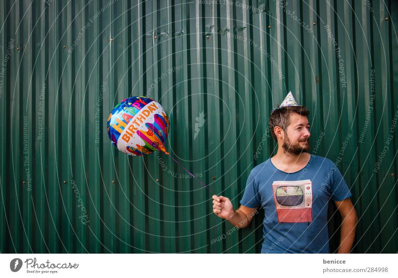 Happy B. - V. Birthday Happy Birthday Balloon Man Human being Young man Facial hair Old Senior citizen Wall (building) Feasts & Celebrations Party Stand Smiling
