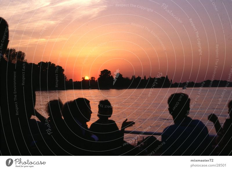 Sunset Encounter Neuss district Group Rhine Watercraft Trip finale Harbour tour Duesseldorf
