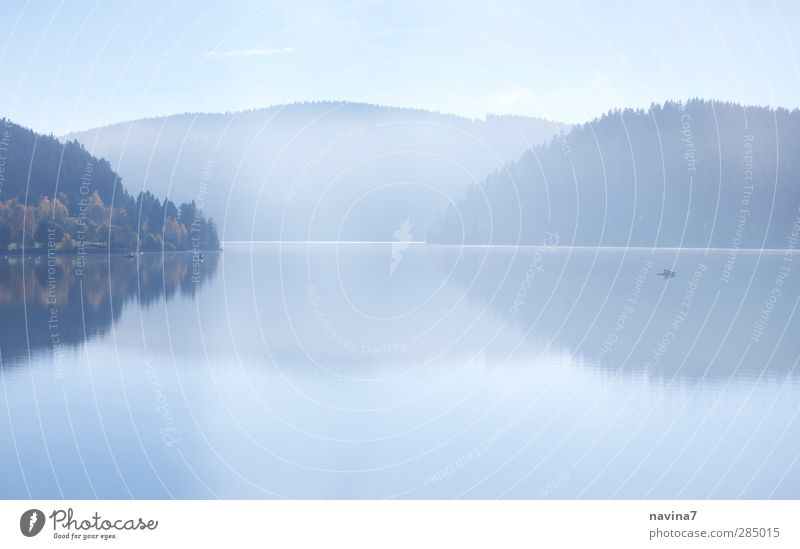 Sky Nature Blue Water Loneliness Calm Relaxation Far-off places Environment Mountain Autumn Lake Fog Fishing (Angle) Caution