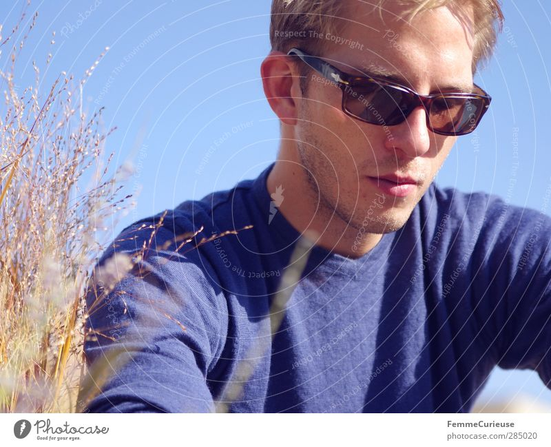 Human being Nature Man Youth (Young adults) Blue Vacation & Travel Relaxation Adults Warmth Autumn Grass Young man Head Think 18 - 30 years Air