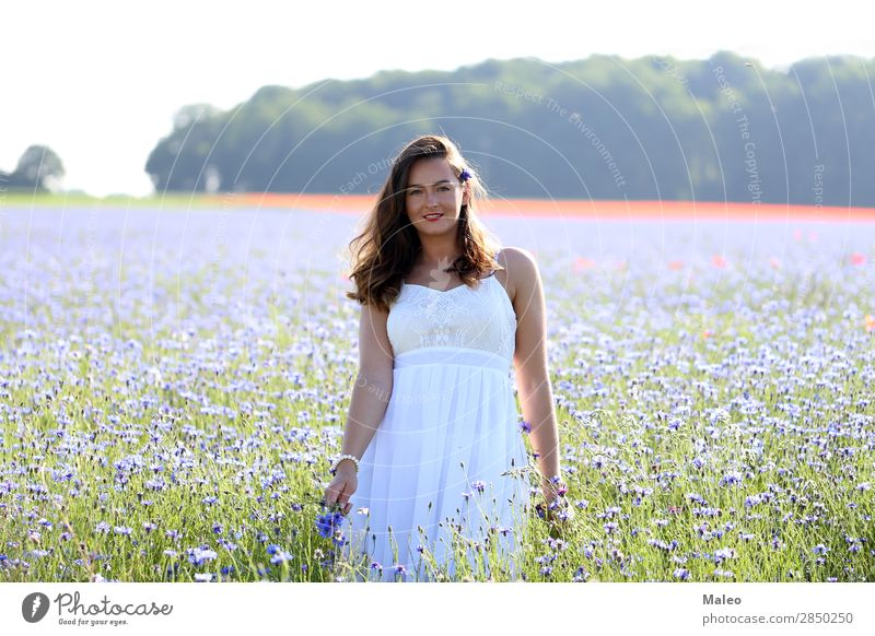 Portrait of a young woman Beautiful Blue Girl Hair and hairstyles Happy Portrait photograph Woman Young woman Bouquet Field Model Nature Spring Summer