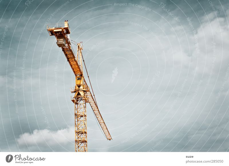 crane Work and employment Workplace Construction site Industry Business SME Environment Air Sky Clouds Steel Stand Sharp-edged Simple Tall Yellow Gray Stress