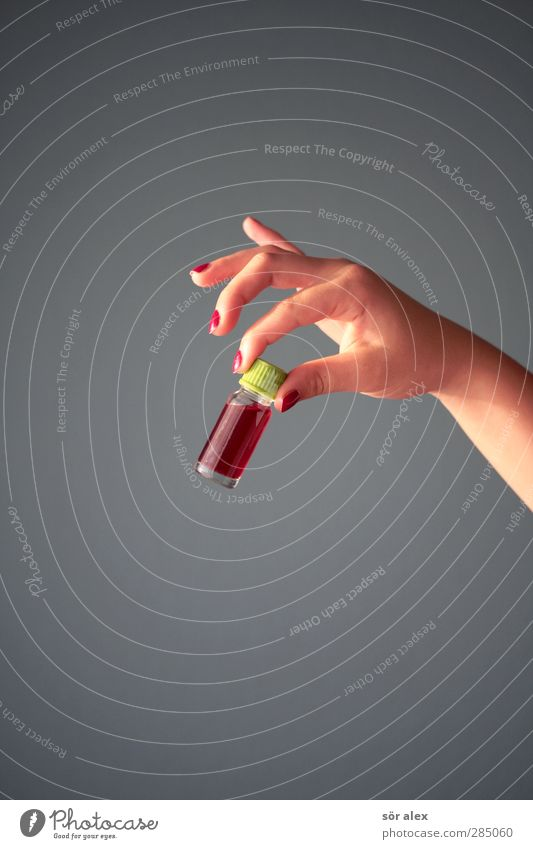 a gift...mon chéri Hand Fingers Underarm Fingernail Women`s hand Baby's bottle Glass To hold on Gray Red Poison Criminality Murder Blood Blood donor