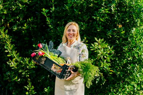 Woman with vegetables in box Vegetable Box Food Adults Cheerful Fresh Sale Retail sector Organic Green Customer Shopping Markets Package Beautiful Container