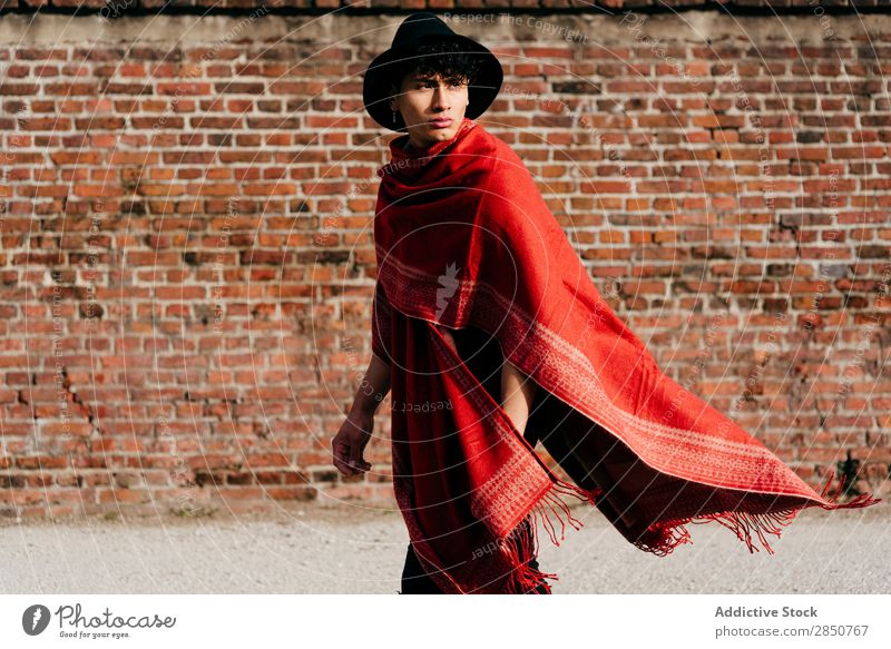 Asian man in red scarf and hat Man handsome Youth (Young adults) Style asian Scarf Red Hat Human being Portrait photograph Fashion Model Modern Guy Lifestyle