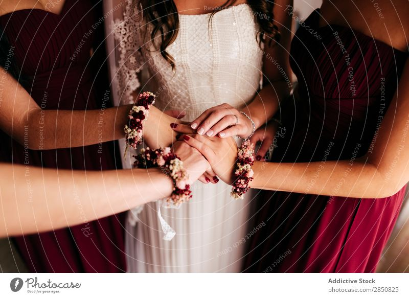 Bride and bridesmaids holding hands together Wedding Feasts & Celebrations Ceremony Human being Woman