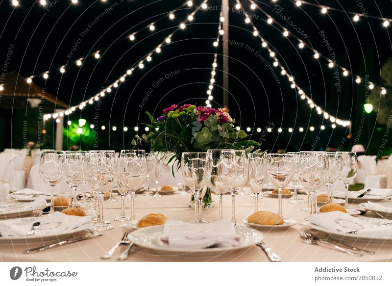 Served banquet table Banquet Table Decoration served Feasts & Celebrations Wedding Party Event Arrangement Dinner decor Set catering Tradition composition