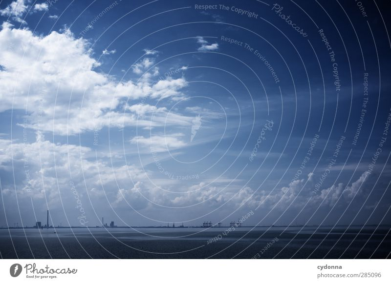 farsighted Logistics Environment Nature Landscape Water Sky Clouds Summer North Sea Ocean Navigation Harbour Container Uniqueness Freedom Horizon Planning Calm