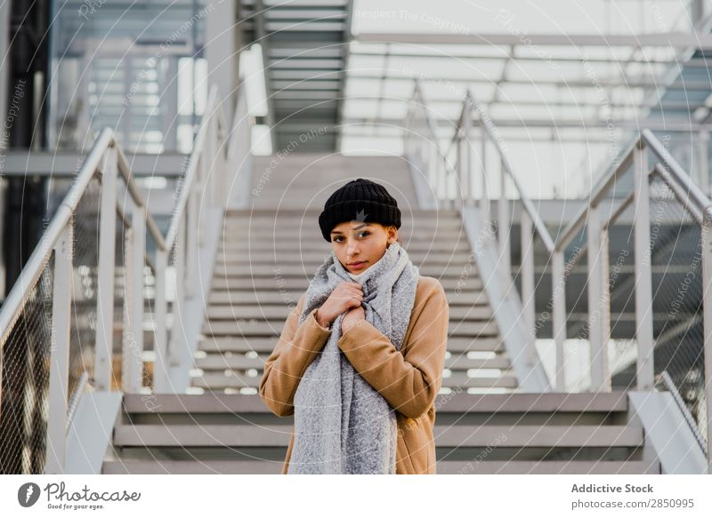 Smiling woman posing on staircase Woman Stairs Posture Beautiful Style Youth (Young adults)