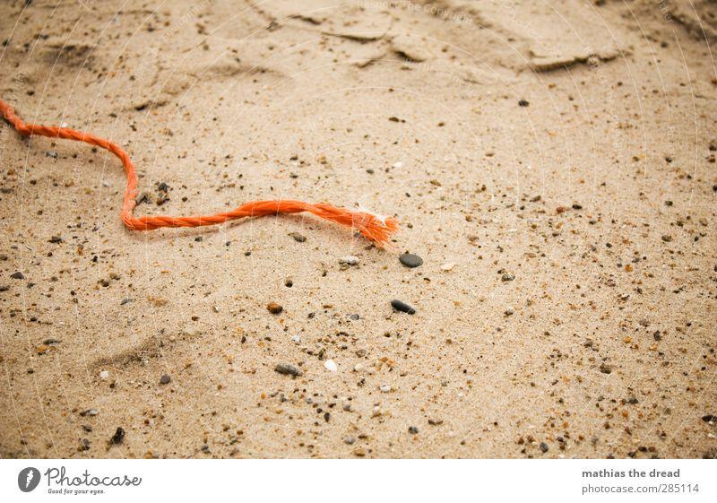 Beach Coast Sand Orange Rope String Plastic Trash Still Life Motionless Environmental pollution Washed up