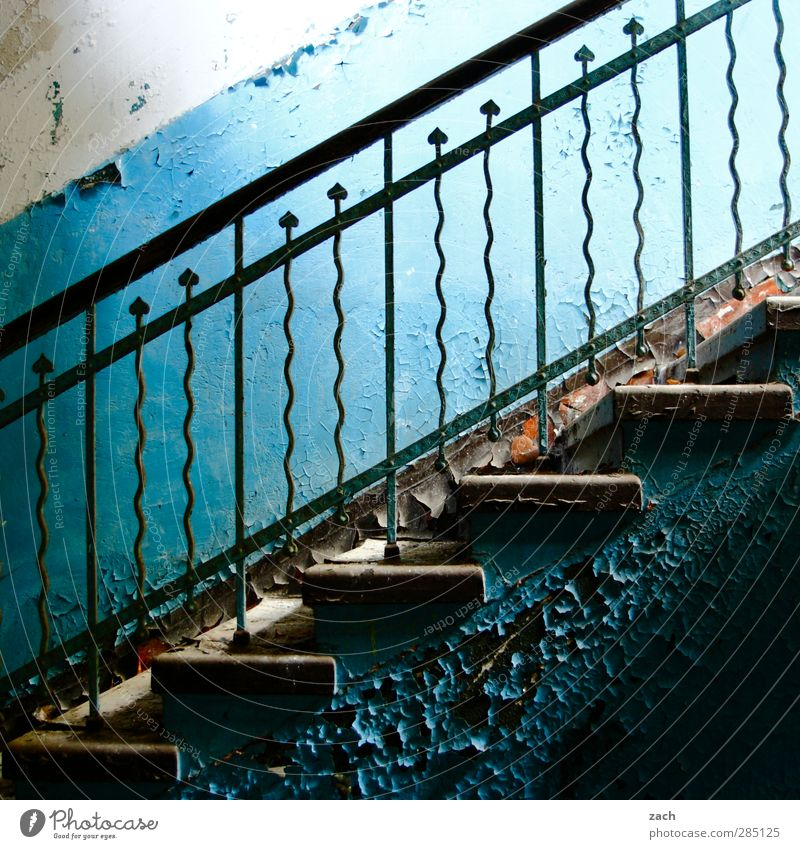 Blue Old House (Residential Structure) Wall (building) Architecture Wall (barrier) Building Metal Facade Stairs Broken Transience Banister Decline Steel Ruin