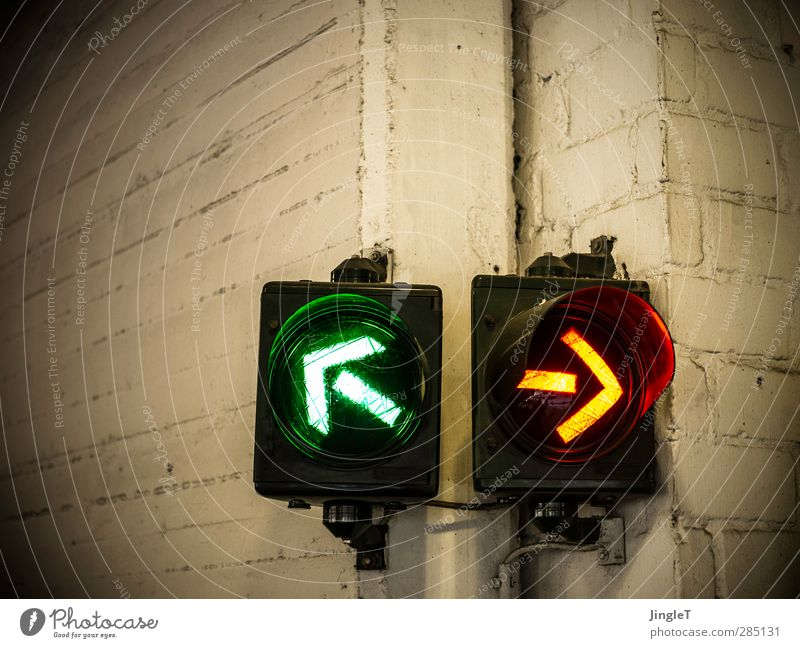 left-sided mood high | UT Koeln Technology Information Technology Transport Traffic light Concrete Sign Road sign Arrow Driving Yellow Gold Green White