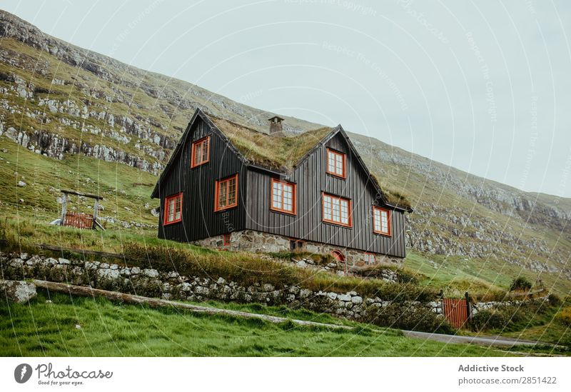 Wooden house in rocky highlands House (Residential Structure) Highlands Remote Nature Cottage Countries Vacation & Travel Architecture Landscape Mountain Rural