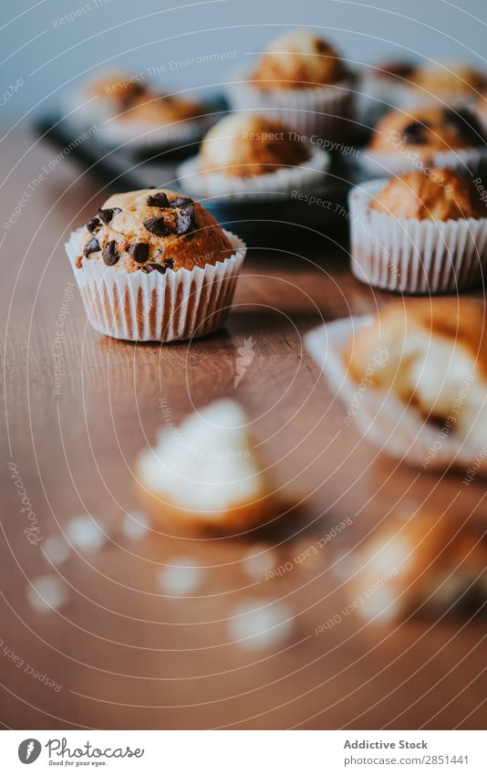 Home Made Muffins with Chocolate Seeds Brown Sweet Dessert Coffee Cake Fresh Cup Home-made Cupcake Tasty Dark Table Breakfast Baking Token Cinnamon Delicious