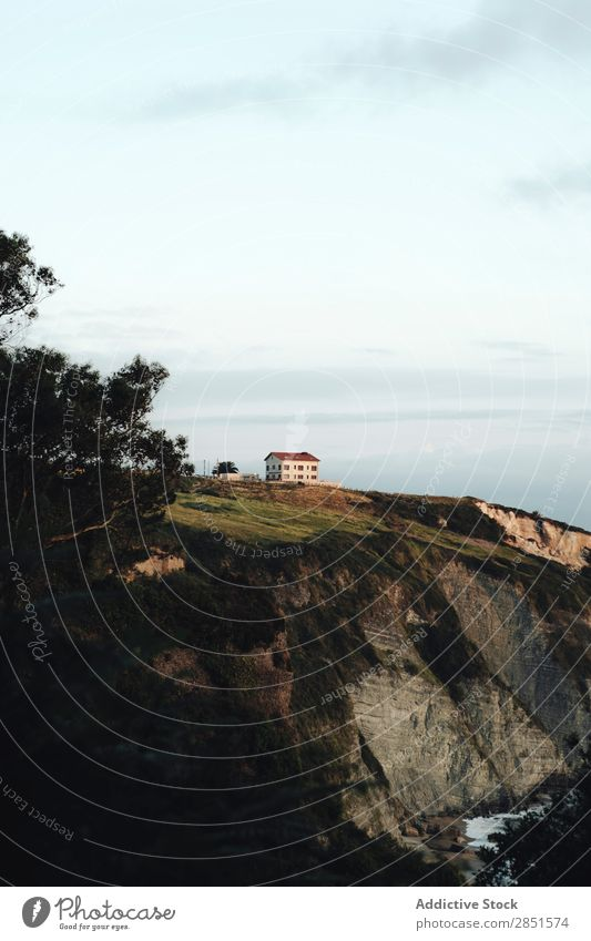 House on hill at ocean House (Residential Structure) Mountain Ocean Water Coast Landscape Nature Sky Village Vantage point Tourism Vacation & Travel Beautiful