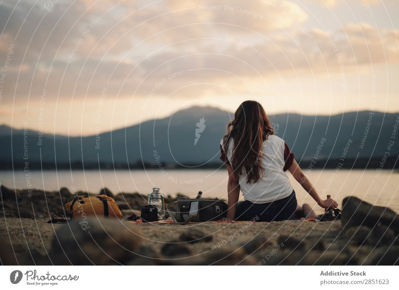 Woman on picnic at lake Lake Sit Picnic Camping Looking away Nature Summer Youth (Young adults) Water Girl Beautiful Leisure and hobbies Lifestyle Human being