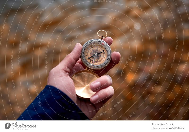 Hand with compass in nature traveler Compass (drafting) Nature Autumn Leaf Vacation & Travel Direction way Adventure Lost Hiking Vantage point Arrow exploration