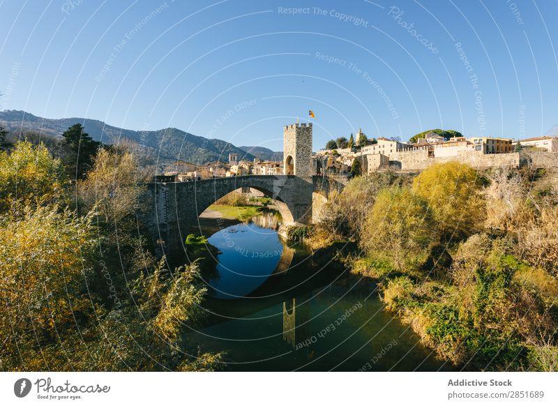 Medieval bridge Bridge medieval besalu River Water Reflection Catalonia Antique Spain Gate garrotxa Old Vacation & Travel Architecture Building Wall (building)