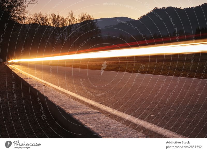 Car light trails Light Speed Street Long Abstract Lanes & trails Exposure Background picture Night Nature Vacation & Travel Truck Movement Transport Set Line