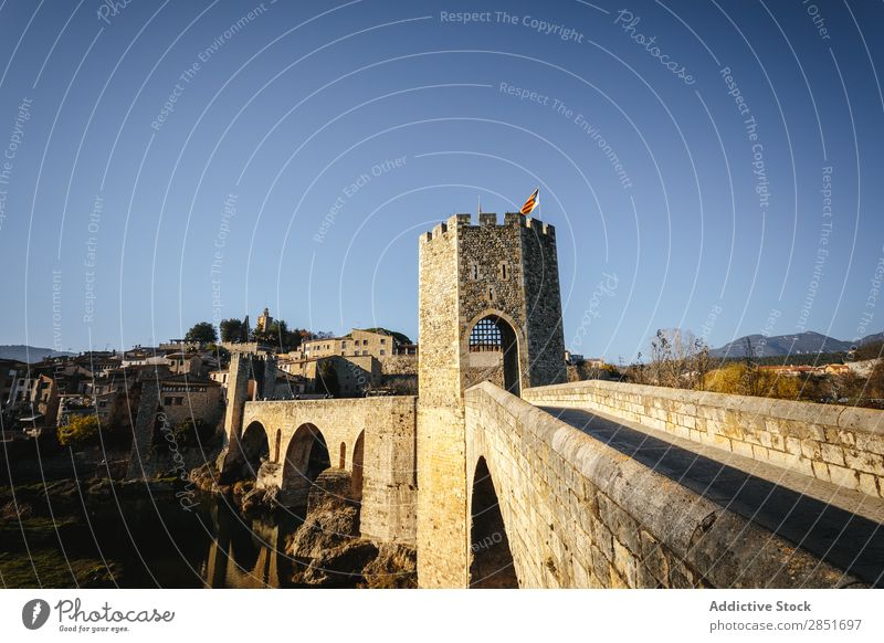 Medieval bridge Bridge medieval besalu River Catalonia Antique Spain Gate garrotxa Old Vacation & Travel Architecture Building Wall (building) Ancient Europe