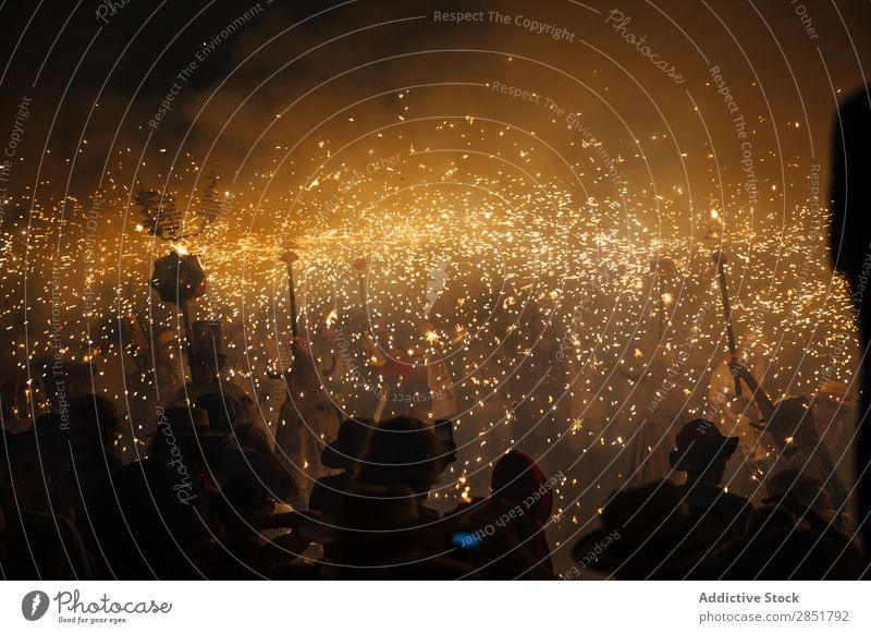 Firework correfoc Dance Feasts & Celebrations sitges Catalonia catalan Spain Tradition Leisure and hobbies Night firework diables Human being Joy major devils