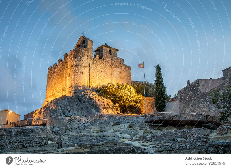 Medieval castle in the blue hour Castle Stone Rock medieval Spain calafell Landmark Catalonia Town Ancient Sky Old Vacation & Travel Mediterranean Exterior shot