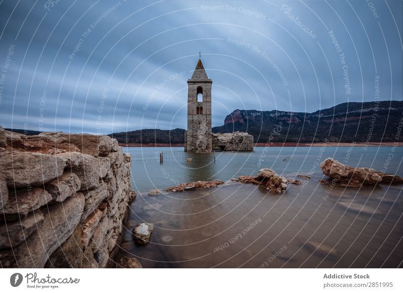 Bell tower submerged in a lake Lake Water Tower Church Vacation & Travel Architecture Landmark Sky Old Mountain Landscape Nature Spain Catalonia sau Blue
