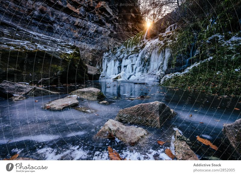 Frozen waterfall Waterfall Landscape Snow Background picture Winter Seasons Detail Transparent Ice Beautiful Nature Beauty Photography Rock Abstract Light