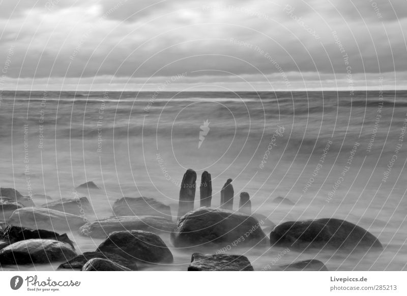 1,2,3,4 Environment Nature Landscape Water Sky Clouds Wind Waves Coast Beach Baltic Sea Stone Wood Romp Gray Black Black & white photo Exterior shot Evening