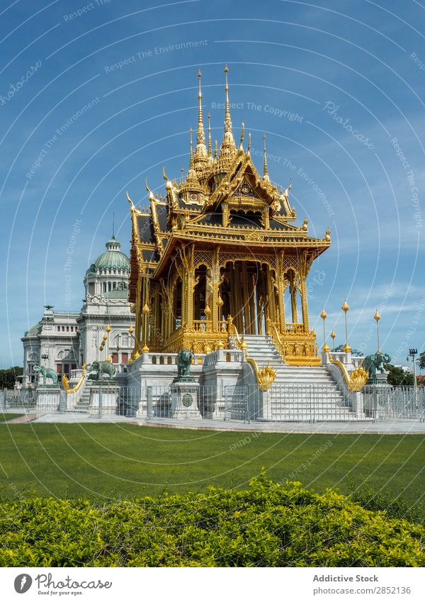 Beautiful big golden building Building asian Tradition Multicoloured Temple Asia Palace Gold Lawn Green Architecture Culture Old Tourism Vacation & Travel