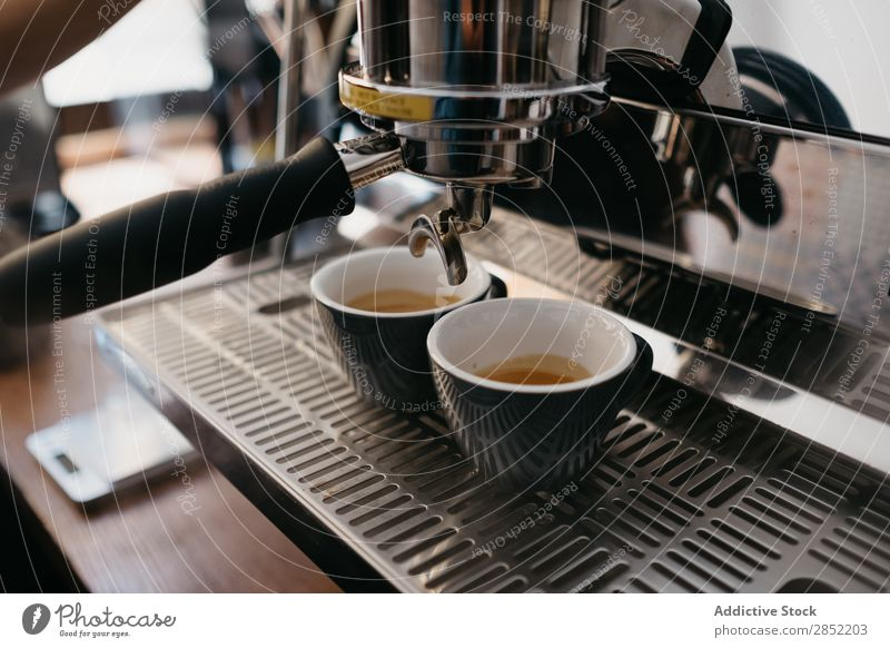 Professional coffee making process Coffee Cup maker Drinking Espresso Café Shopping Brown barista Hot machine Morning Breakfast Cappuccino Table Restaurant Mug