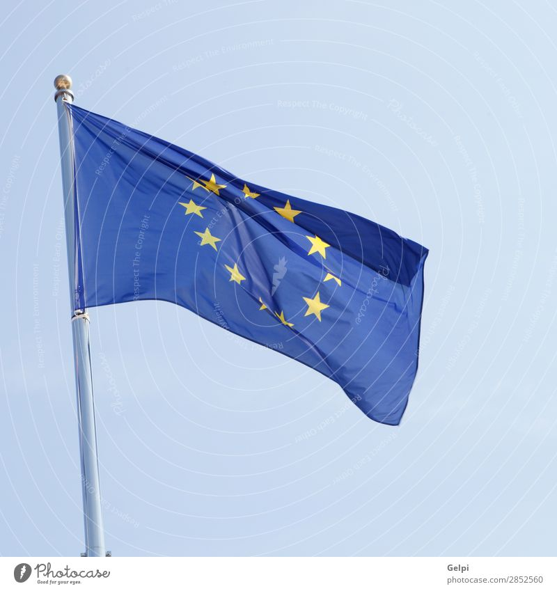 European flag waving in the mast Financial institution Company Sky Wind Landmark Cloth Flag Blue Yellow Identity Crisis Politics and state Attachment