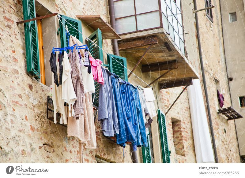 washing day Living or residing Flat (apartment) Clothesline Laundry Washing Colle Val D'Elsa Italy Tuscany Village Old town House (Residential Structure)