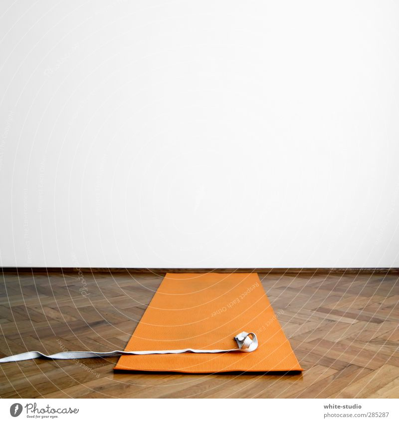 White Calm Wall (building) Sports Think Orange String Posture Fitness Copy Space Sports Training Yoga Flexible Coil Gymnastics Parquet floor