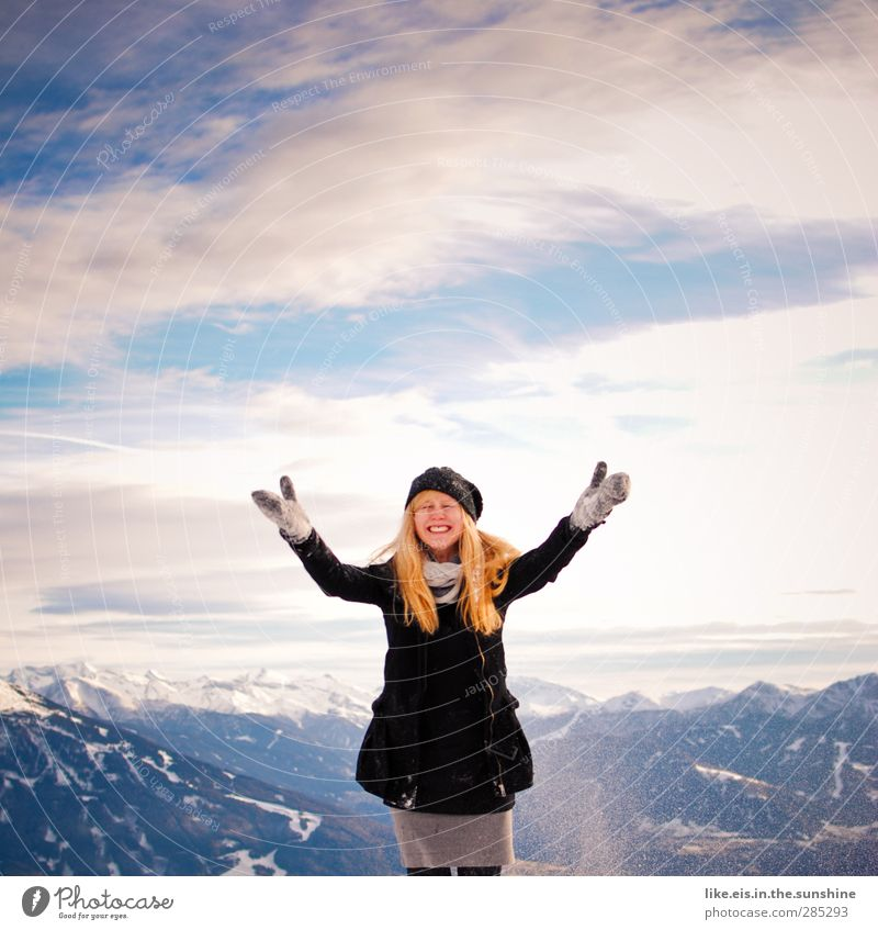 Human being Woman Nature Youth (Young adults) Joy Landscape Winter Adults Environment Young woman Mountain Life Feminine Snow Happy 18 - 30 years