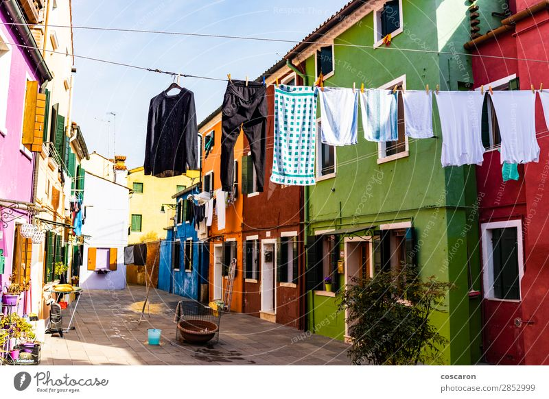 Hanging clothes on the streets of Burano, Venice, Italy. Beautiful Vacation & Travel Tourism Summer Summer vacation Island House (Residential Structure) Culture