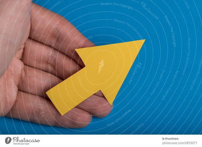 Blue Hand Yellow Success Future Fingers Change Sign To hold on Team Education Select Arrow Economy Career Upward