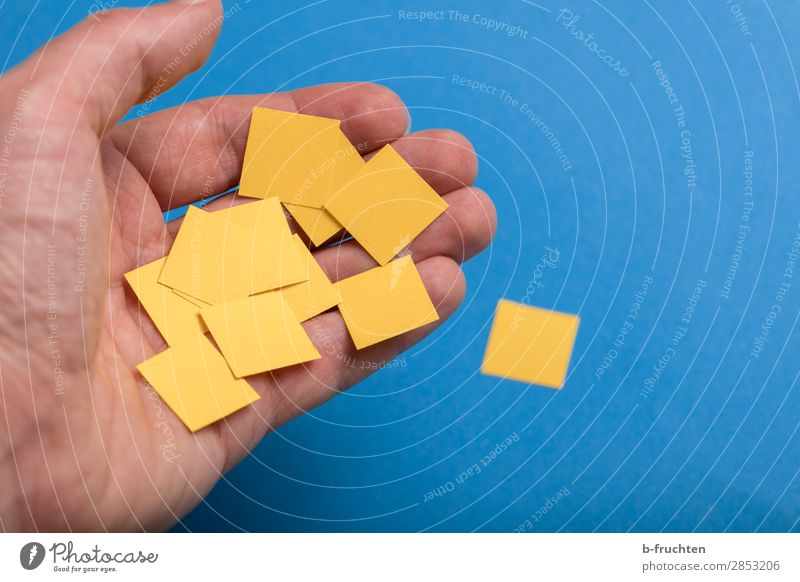 Paper squares Education Office work Business Success Team Hand Fingers Sign Work and employment Select Utilize To hold on Simple Together Blue Yellow Idea Risk